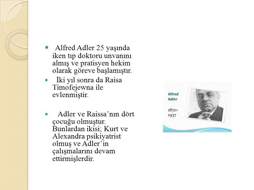 Alfred Adler 25 yaşında iken tıp doktoru unvanını almış ve pratisyen hekim olarak göreve başlamıştır.