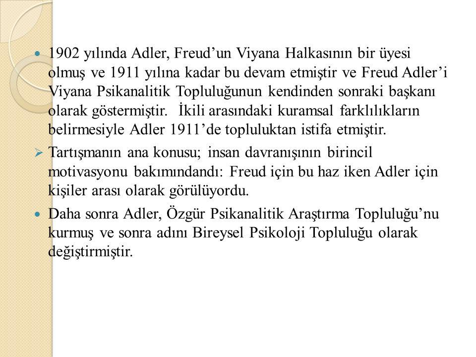 1902 yılında Adler, Freud'un Viyana Halkasının bir üyesi olmuş ve 1911 yılına kadar bu devam etmiştir ve Freud Adler'i Viyana Psikanalitik Topluluğunun kendinden sonraki başkanı olarak göstermiştir. İkili arasındaki kuramsal farklılıkların belirmesiyle Adler 1911'de topluluktan istifa etmiştir.