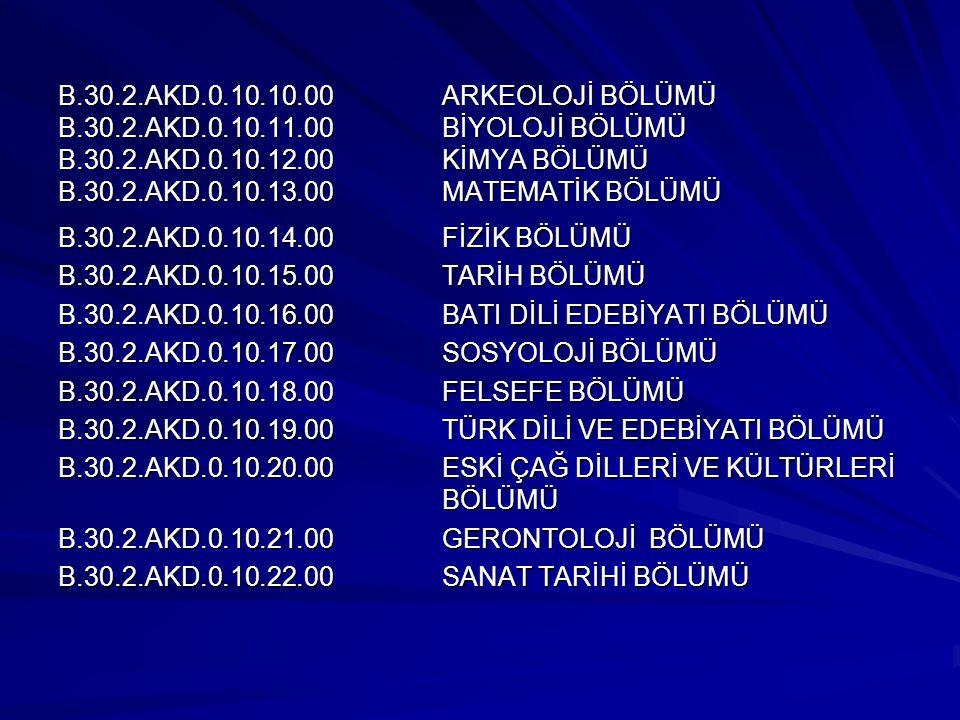 B. 30. 2. AKD. 10. 10. 00. ARKEOLOJİ BÖLÜMÜ B. 30. 2. AKD. 10. 11. 00