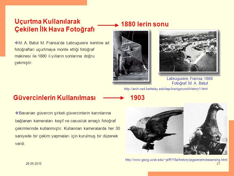 Uçurtma Kullanılarak Çekilen İlk Hava Fotoğrafı 1880 lerin sonu