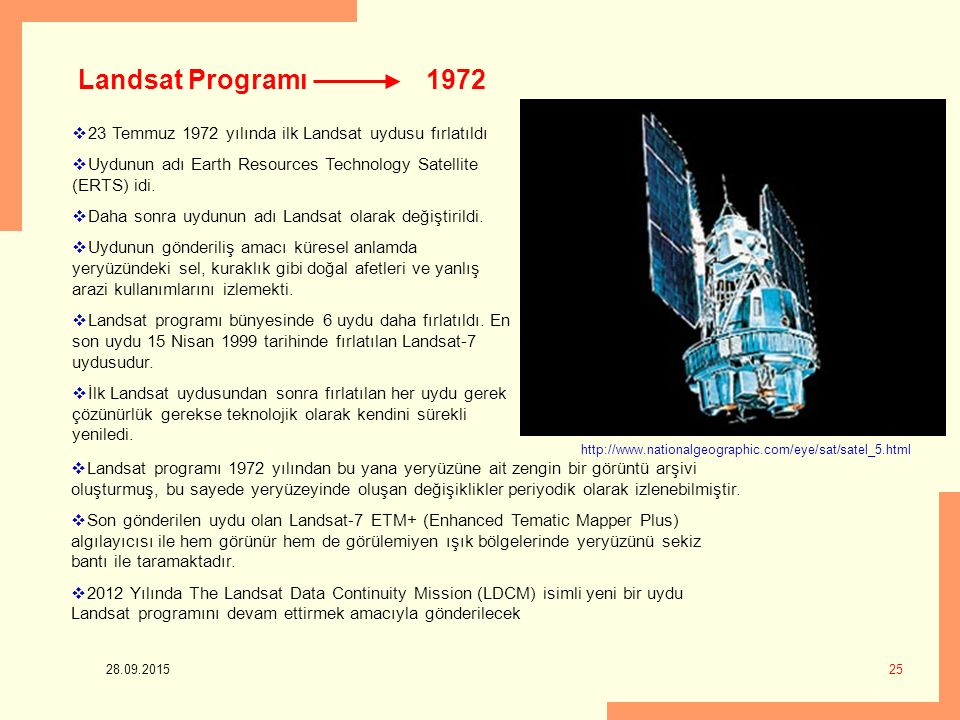 Landsat Programı 1972. 23 Temmuz 1972 yılında ilk Landsat uydusu fırlatıldı. Uydunun adı Earth Resources Technology Satellite (ERTS) idi.