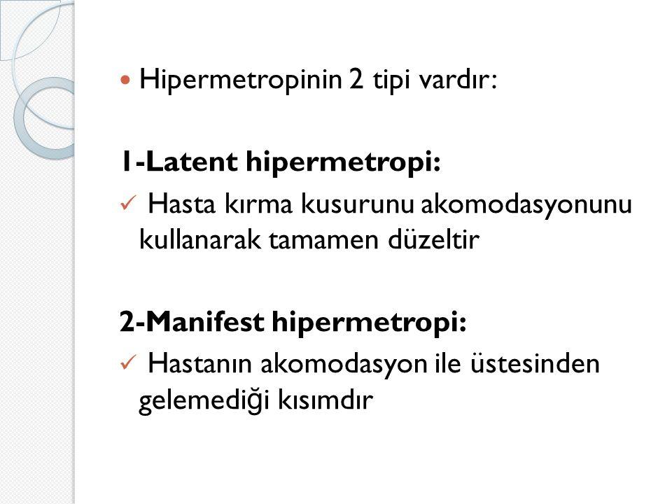 Hipermetropinin 2 tipi vardır: