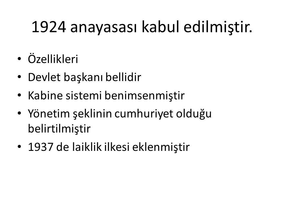 1924 anayasası kabul edilmiştir.