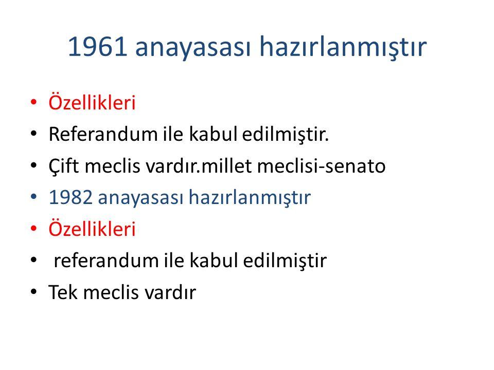1961 anayasası hazırlanmıştır