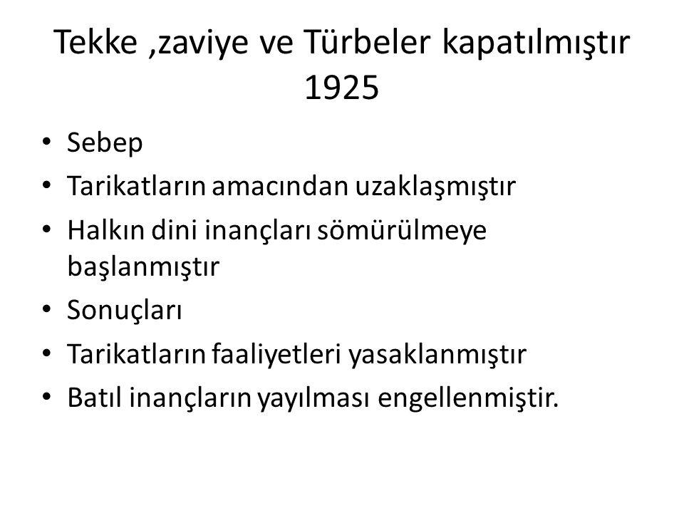 Tekke ,zaviye ve Türbeler kapatılmıştır 1925