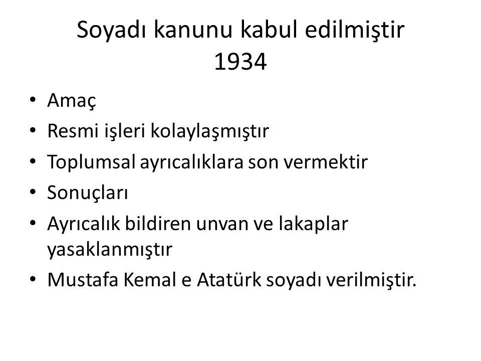 Soyadı kanunu kabul edilmiştir 1934