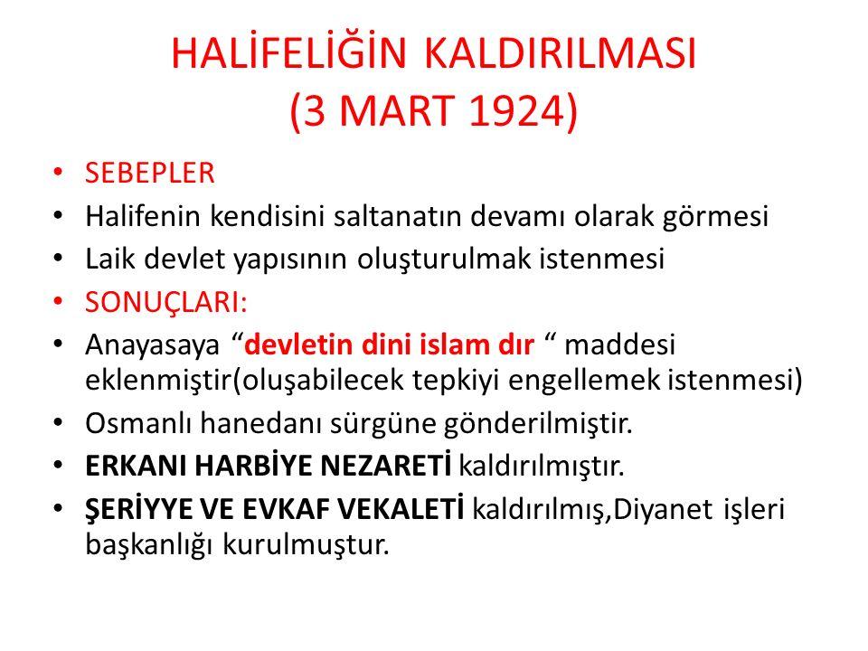 HALİFELİĞİN KALDIRILMASI (3 MART 1924)