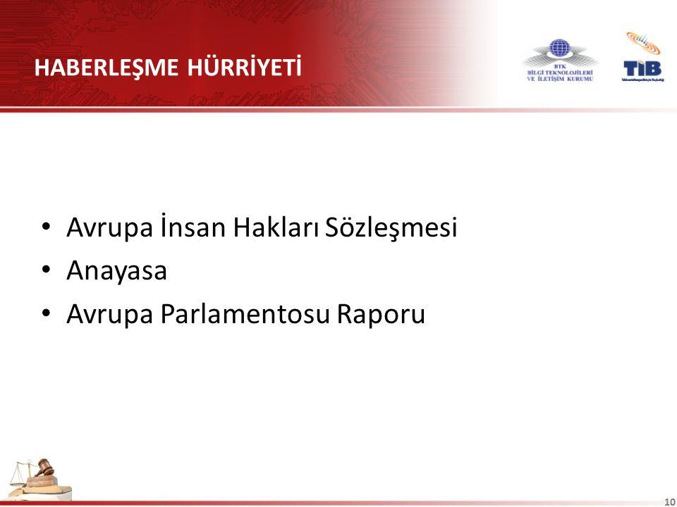 HABERLEŞME HÜRRİYETİ Avrupa İnsan Hakları Sözleşmesi Anayasa