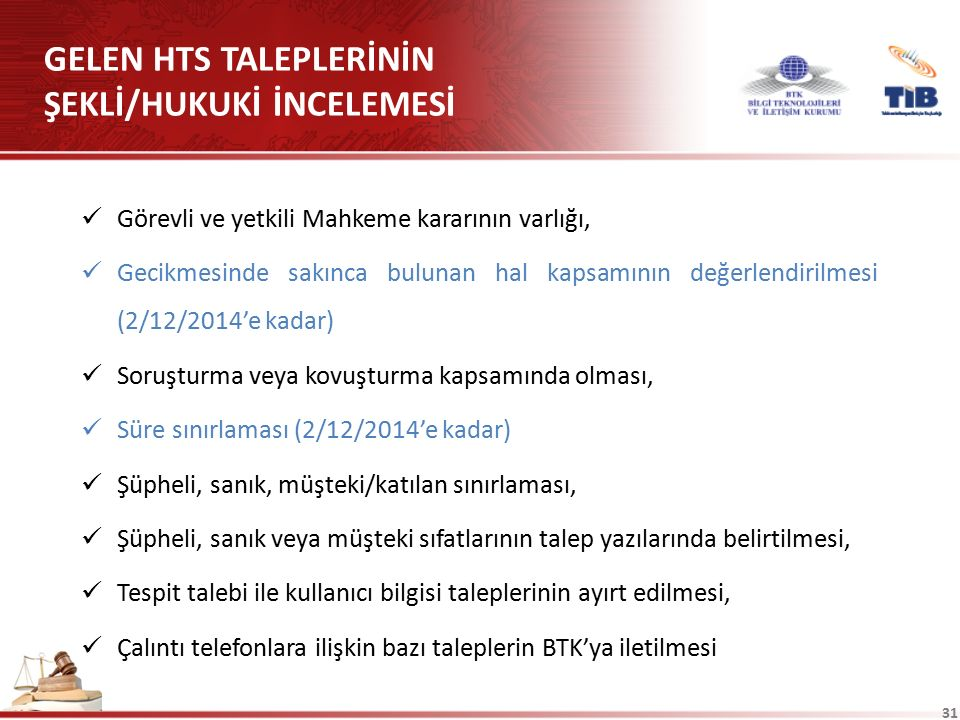 GELEN HTS TALEPLERİNİN ŞEKLİ/HUKUKİ İNCELEMESİ