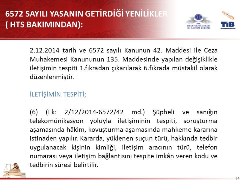 6572 SAYILI YASANIN GETİRDİĞİ YENİLİKLER ( HTS BAKIMINDAN):
