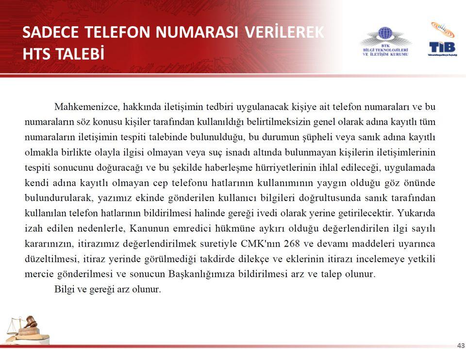 SADECE TELEFON NUMARASI VERİLEREK HTS TALEBİ
