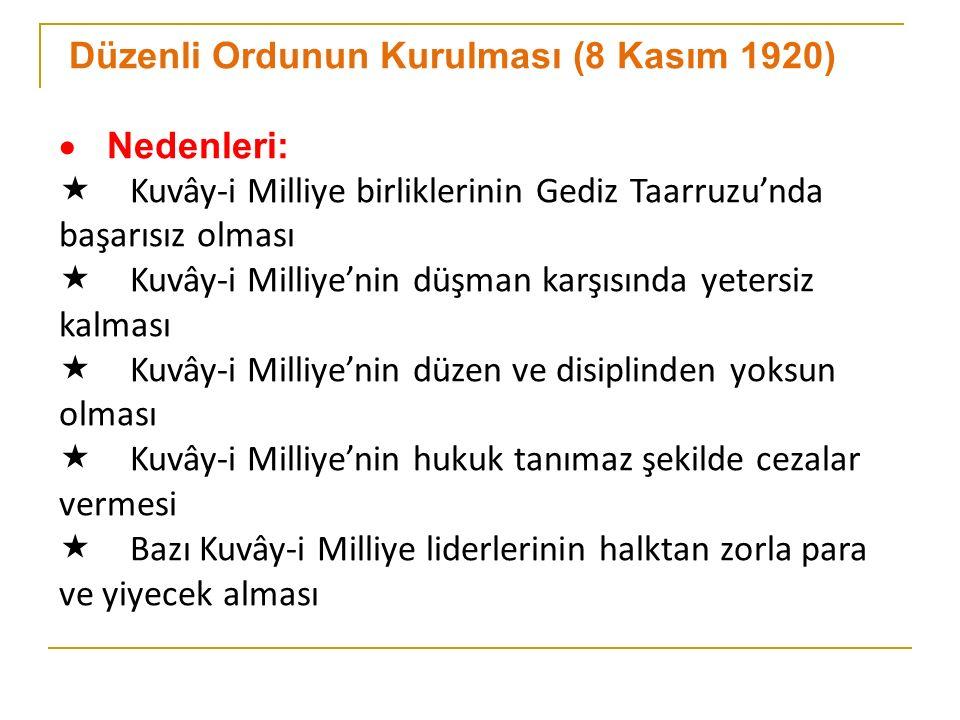 Düzenli Ordunun Kurulması (8 Kasım 1920)