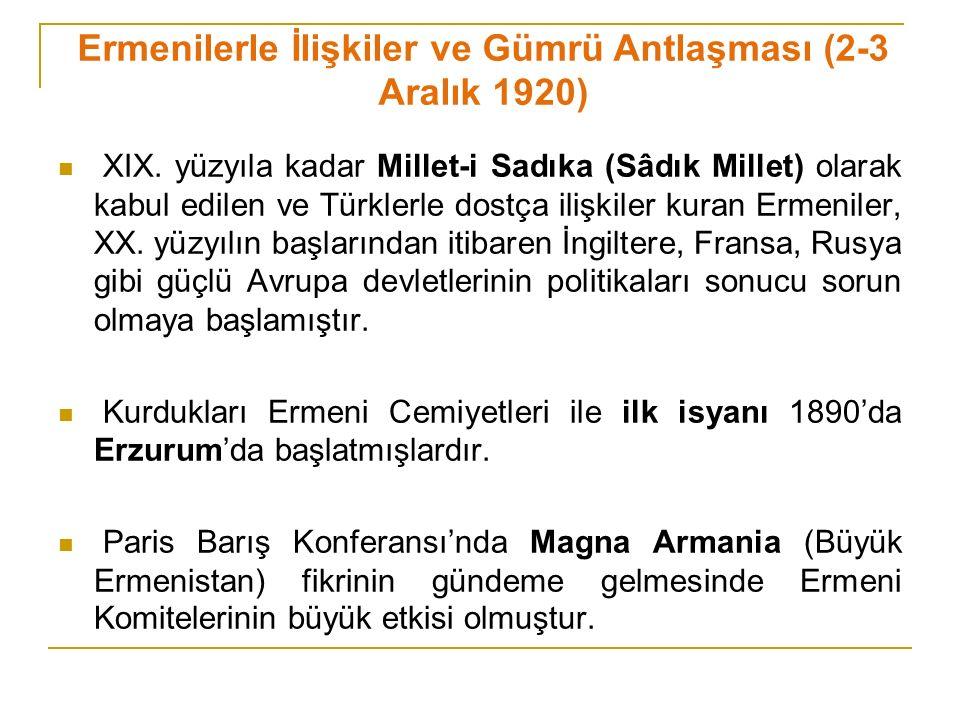 Ermenilerle İlişkiler ve Gümrü Antlaşması (2-3 Aralık 1920)