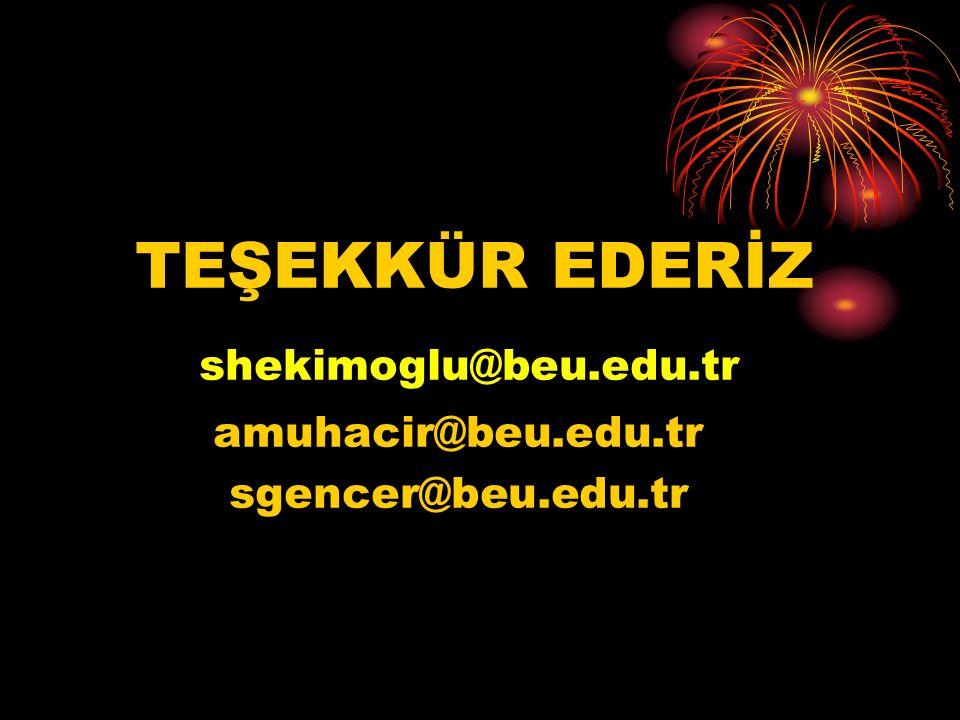 shekimoglu@beu.edu.tr TEŞEKKÜR EDERİZ amuhacir@beu.edu.tr