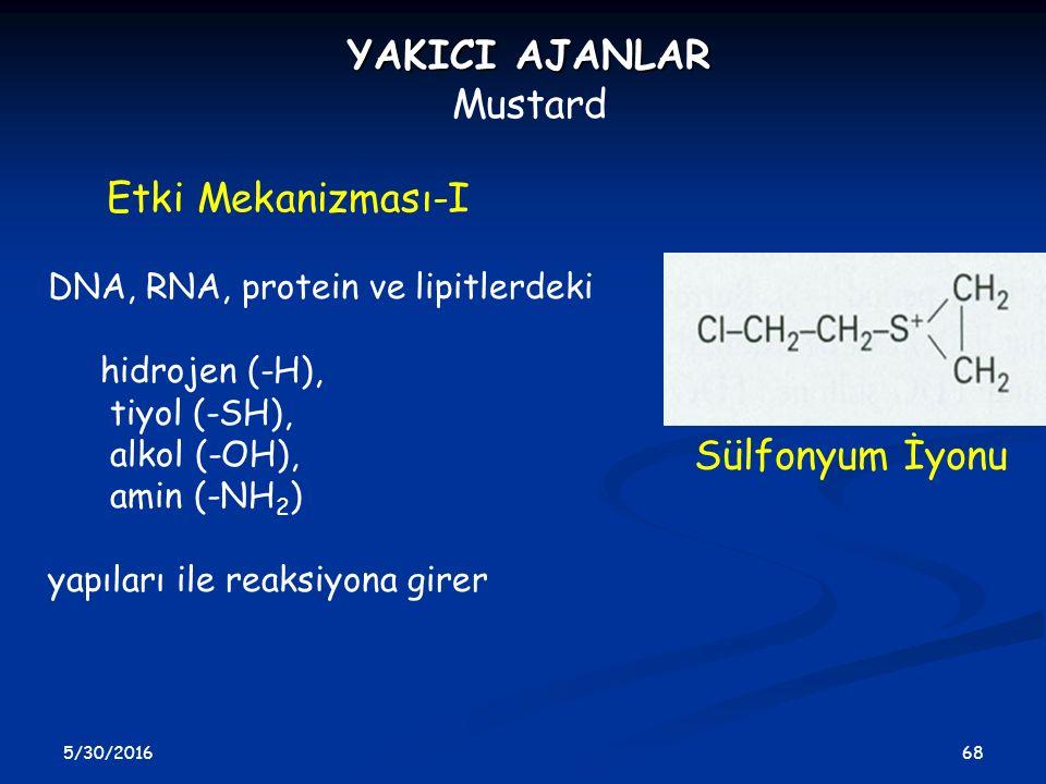 YAKICI AJANLAR Mustard Etki Mekanizması-I Sülfonyum İyonu