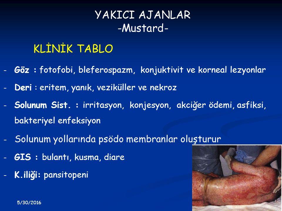 YAKICI AJANLAR -Mustard- KLİNİK TABLO