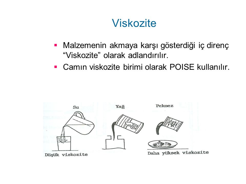 Viskozite Malzemenin akmaya karşı gösterdiği iç direnç Viskozite olarak adlandırılır.