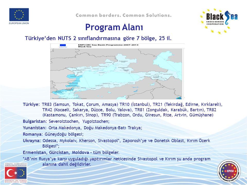 Program Alanı Türkiye'den NUTS 2 sınıflandırmasına göre 7 bölge, 25 il.