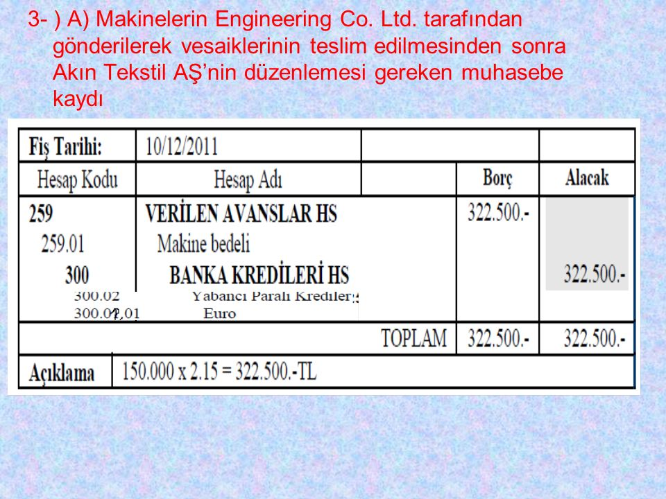 3- ) A) Makinelerin Engineering Co. Ltd