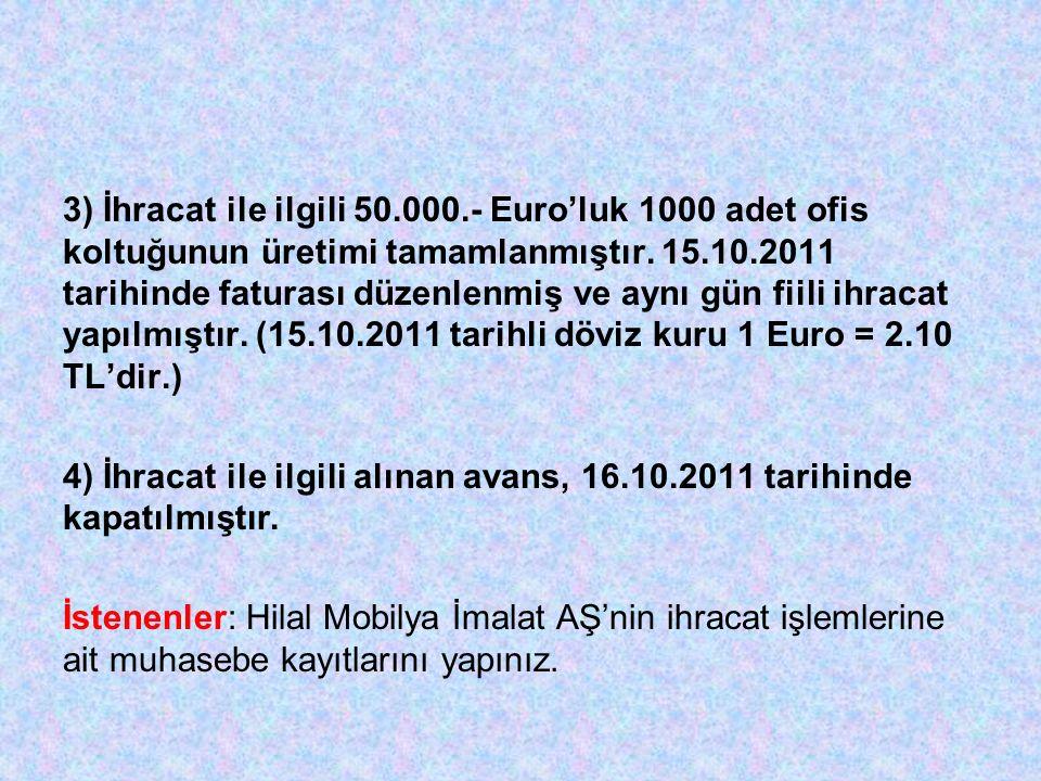 3) İhracat ile ilgili 50.000.- Euro'luk 1000 adet ofis koltuğunun üretimi tamamlanmıştır. 15.10.2011 tarihinde faturası düzenlenmiş ve aynı gün fiili ihracat yapılmıştır. (15.10.2011 tarihli döviz kuru 1 Euro = 2.10 TL'dir.)
