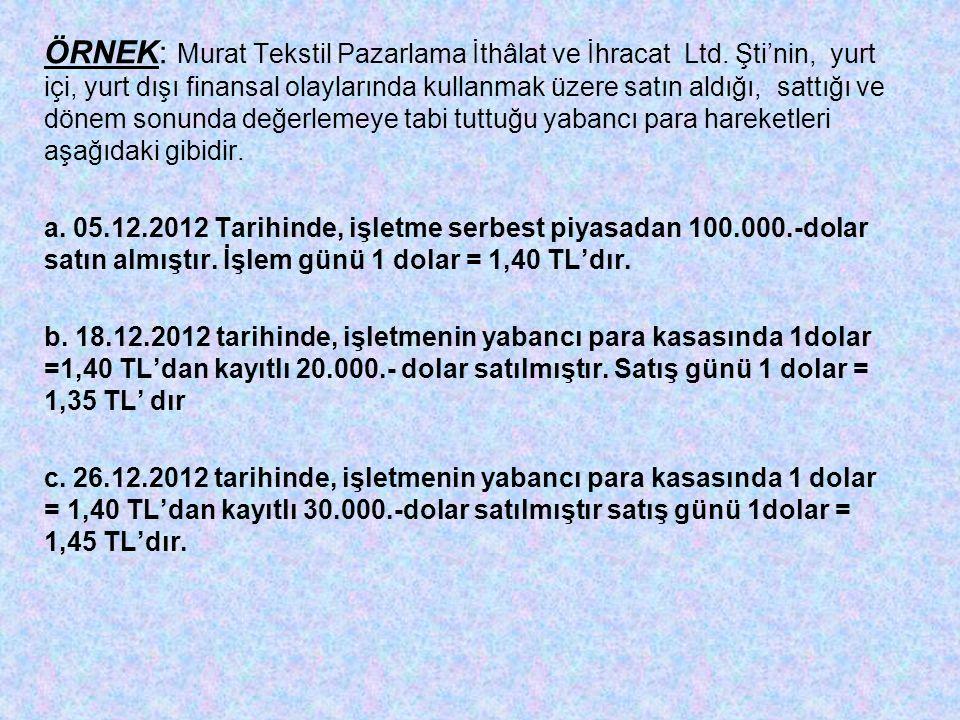 ÖRNEK: Murat Tekstil Pazarlama İthâlat ve İhracat Ltd