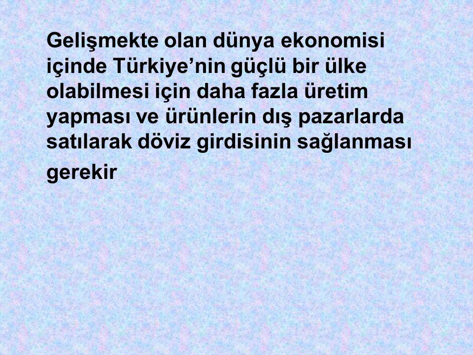 Gelişmekte olan dünya ekonomisi içinde Türkiye'nin güçlü bir ülke olabilmesi için daha fazla üretim yapması ve ürünlerin dış pazarlarda satılarak döviz girdisinin sağlanması