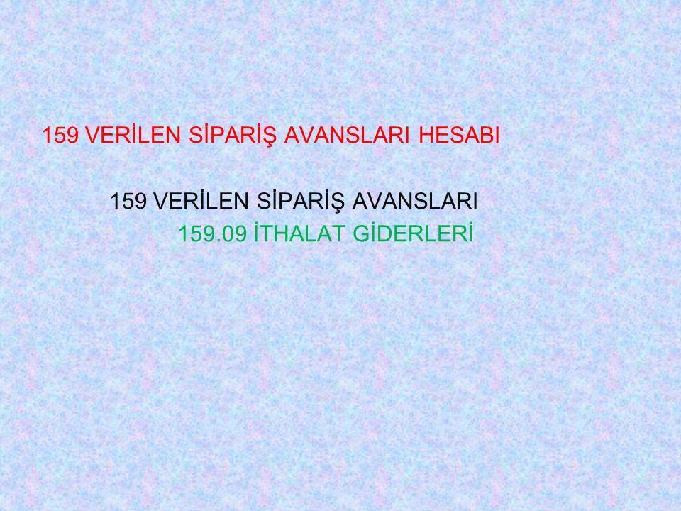 159 VERİLEN SİPARİŞ AVANSLARI HESABI