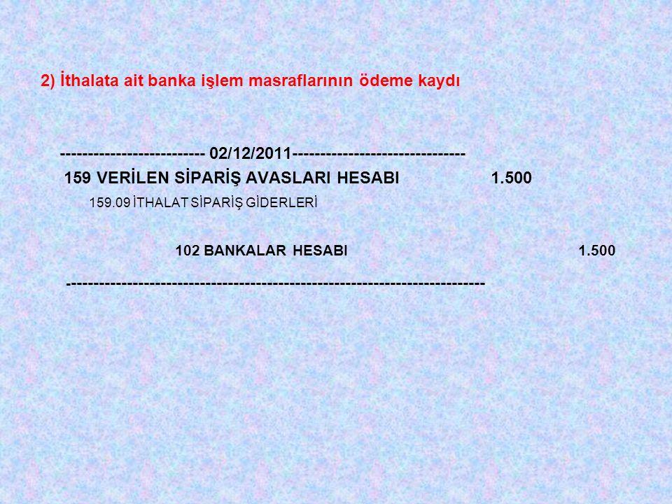 2) İthalata ait banka işlem masraflarının ödeme kaydı