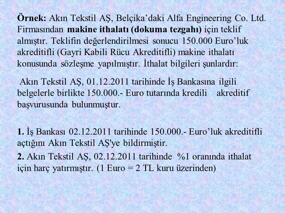 Örnek: Akın Tekstil AŞ, Belçika'daki Alfa Engineering Co. Ltd