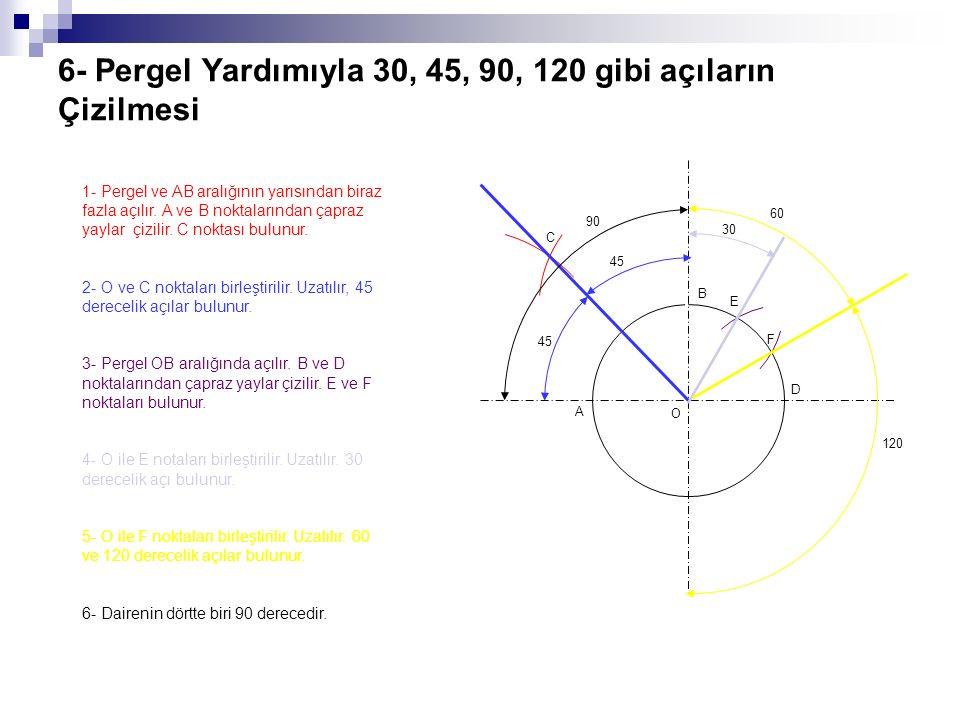 6- Pergel Yardımıyla 30, 45, 90, 120 gibi açıların Çizilmesi