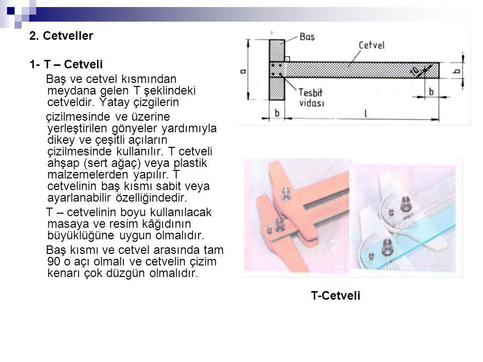 2. Cetveller 1- T – Cetveli. Baş ve cetvel kısmından meydana gelen T şeklindeki cetveldir. Yatay çizgilerin.