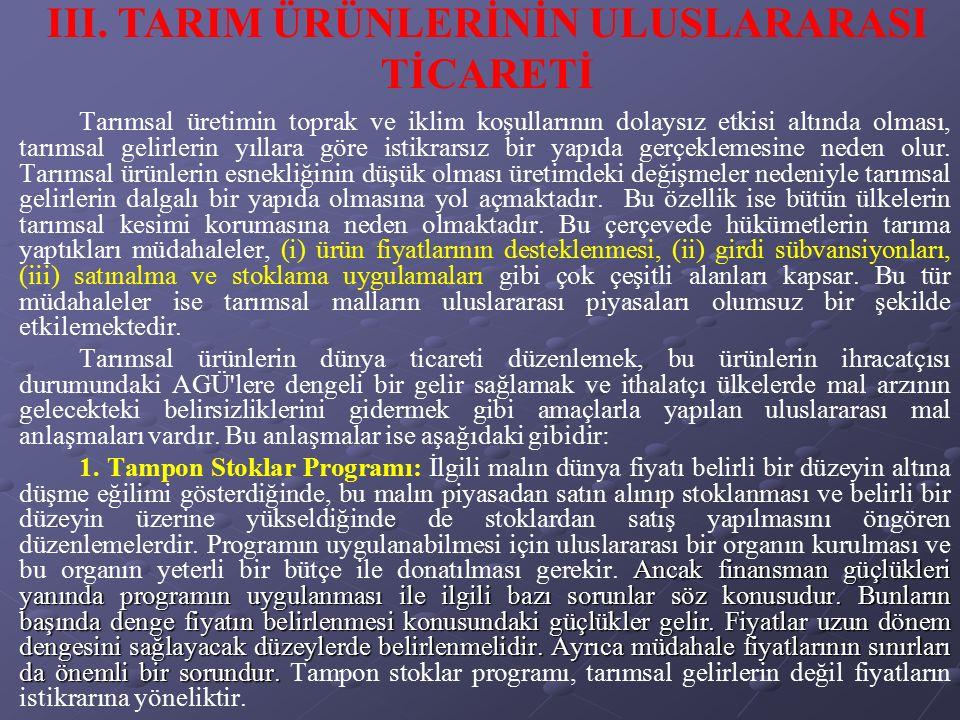 III. TARIM ÜRÜNLERİNİN ULUSLARARASI TİCARETİ