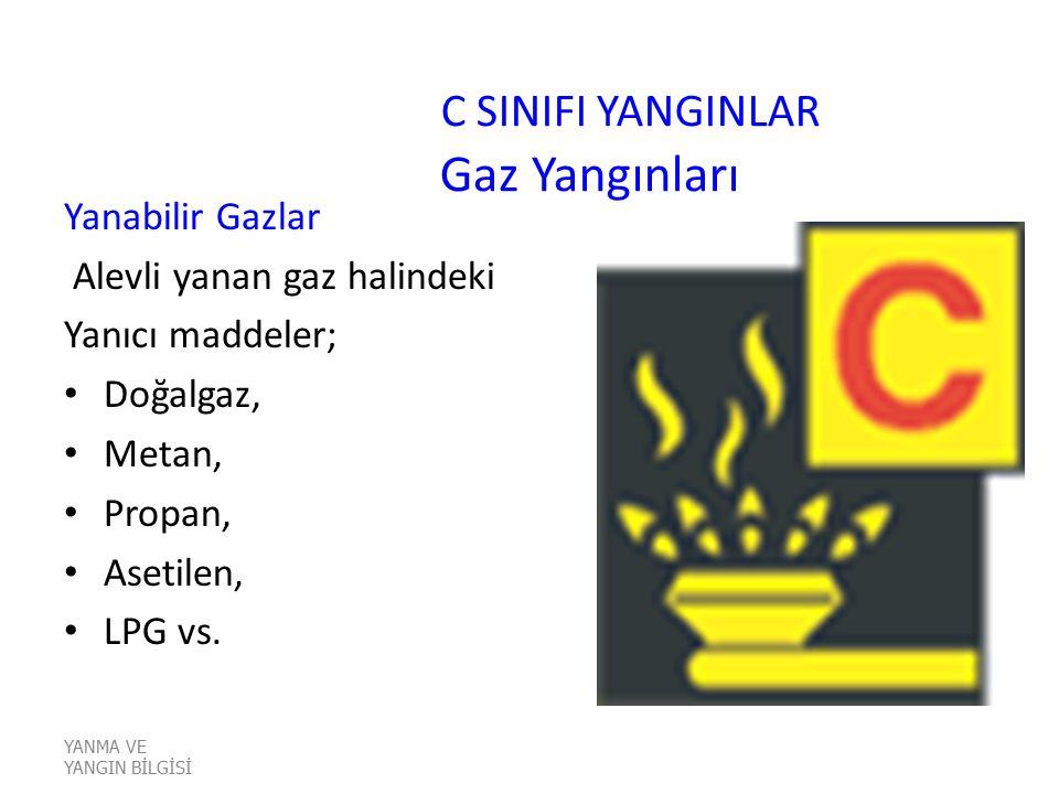 C SINIFI YANGINLAR Gaz Yangınları