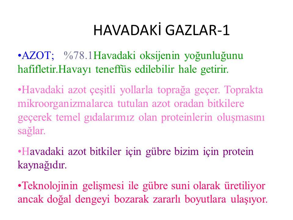 HAVADAKİ GAZLAR-1 AZOT; %78.1Havadaki oksijenin yoğunluğunu hafifletir.Havayı teneffüs edilebilir hale getirir.