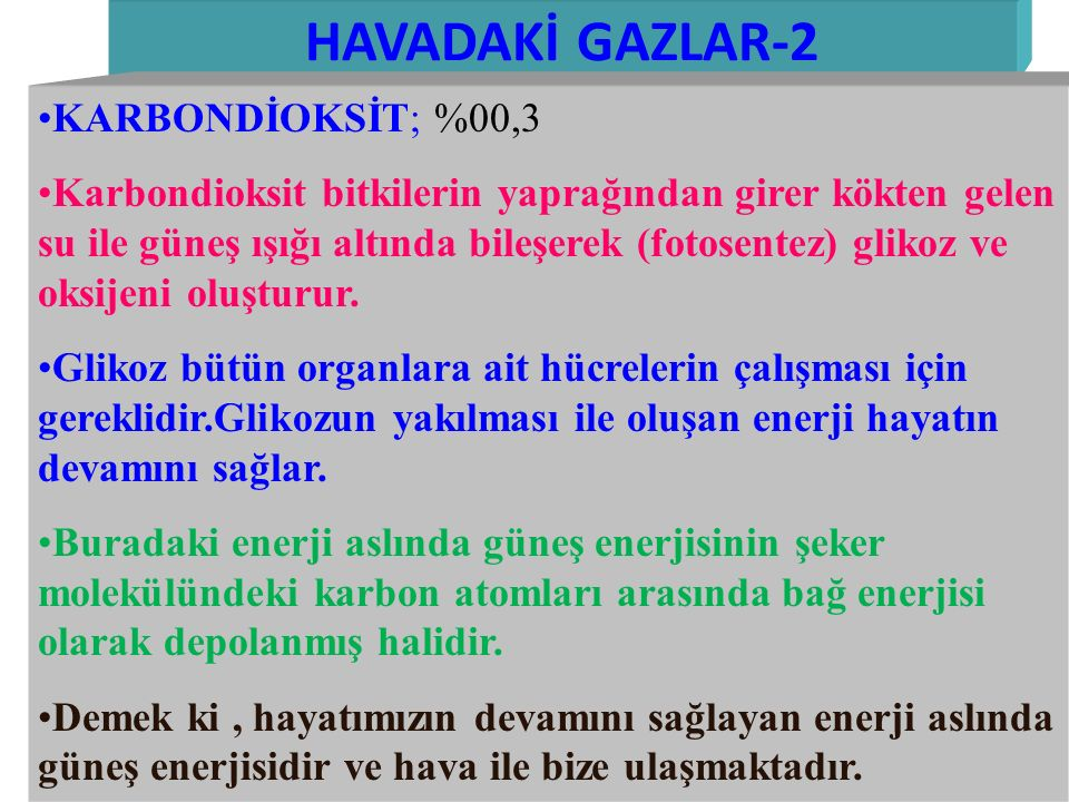 HAVADAKİ GAZLAR-2 KARBONDİOKSİT; %00,3
