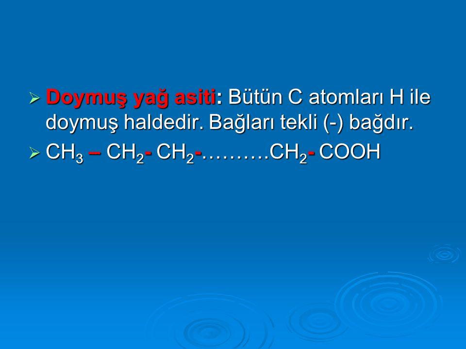 Doymuş yağ asiti: Bütün C atomları H ile doymuş haldedir