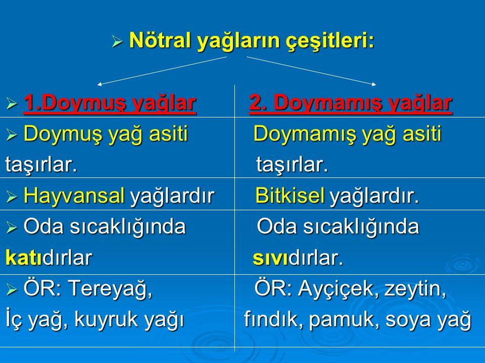 Nötral yağların çeşitleri:
