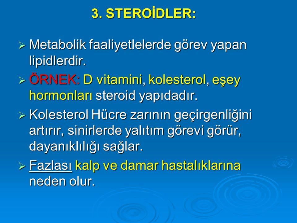 3. STEROİDLER: Metabolik faaliyetlelerde görev yapan lipidlerdir. ÖRNEK: D vitamini, kolesterol, eşey hormonları steroid yapıdadır.