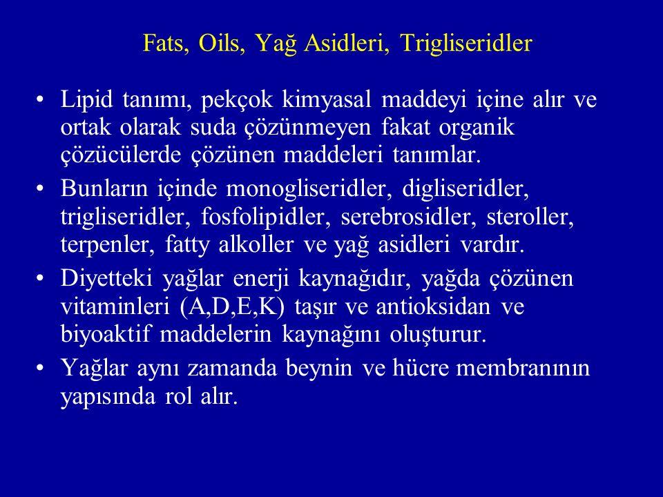 Fats, Oils, Yağ Asidleri, Trigliseridler