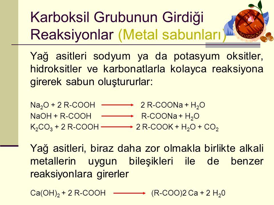 Karboksil Grubunun Girdiği Reaksiyonlar (Metal sabunları)