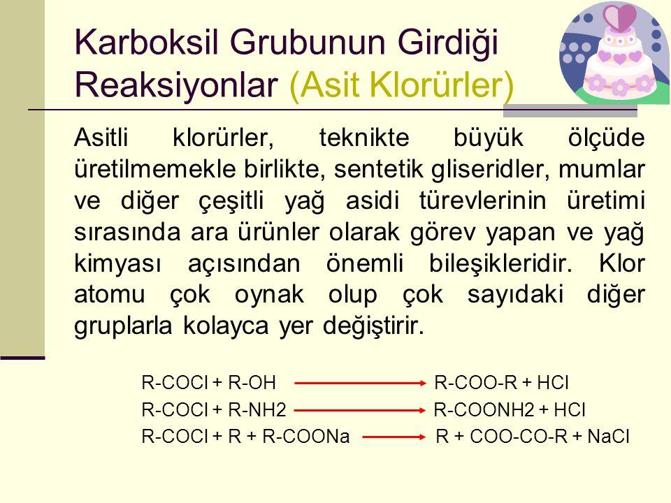 Karboksil Grubunun Girdiği Reaksiyonlar (Asit Klorürler)