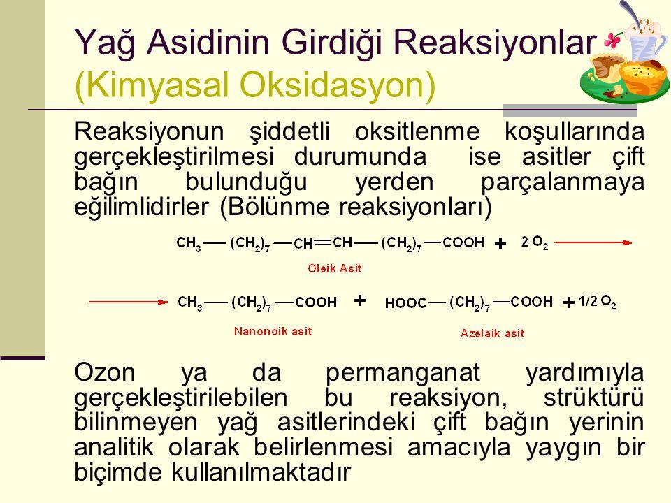 Yağ Asidinin Girdiği Reaksiyonlar (Kimyasal Oksidasyon)