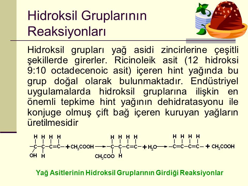 Hidroksil Gruplarının Reaksiyonları