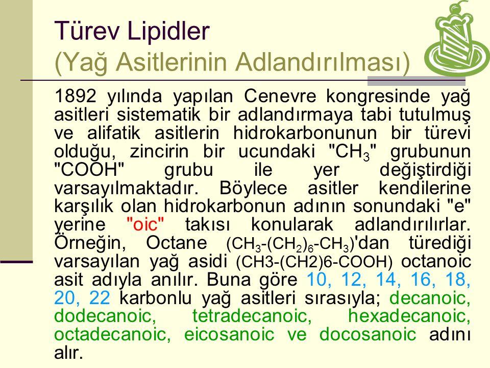 Türev Lipidler (Yağ Asitlerinin Adlandırılması)
