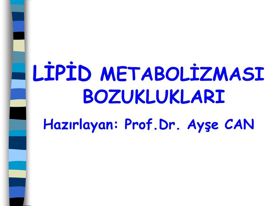 LİPİD METABOLİZMASI BOZUKLUKLARI Hazırlayan: Prof.Dr. Ayşe CAN