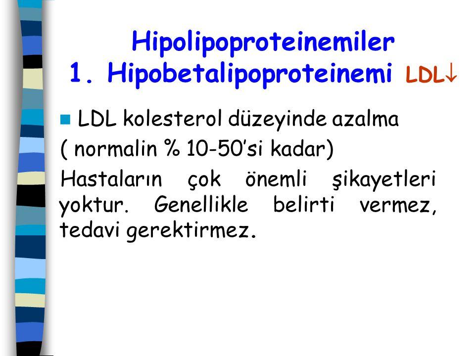 Hipolipoproteinemiler 1. Hipobetalipoproteinemi LDL