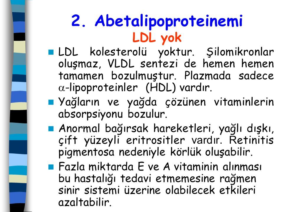 2. Abetalipoproteinemi LDL yok