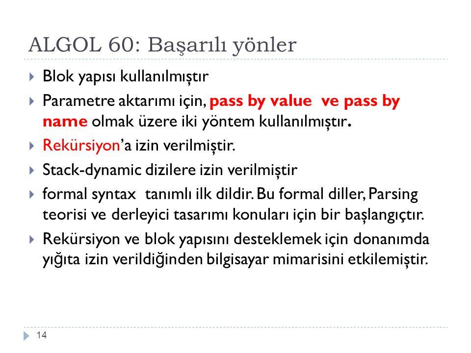 ALGOL 60: Başarılı yönler