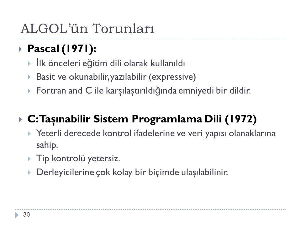 ALGOL'ün Torunları Pascal (1971):