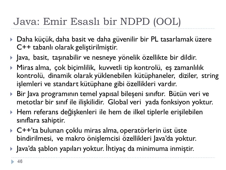 Java: Emir Esaslı bir NDPD (OOL)